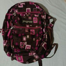 JANSPORT -  Backpack Bag Pink Brown Squares
