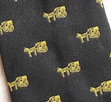 Immagine Tootal Tie Retrò Vintage 1980s Nero Oro Motivo Cavallo & Carrello Corporate MOD