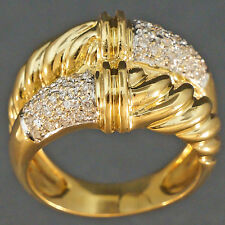 Solid 18K Yellow Gold, .25 ctw Diamond, Scalloped Twisted Rope, Double Dome Ring