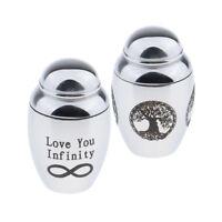 2Pcs Stainless Steel Cremation Ash Urn Holder Memorial Pet Keepsake Jewelry