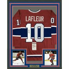 FRAMED Autographed/Signed GUY LAFLEUR 33x42 Montreal Red Jersey JSA COA Auto