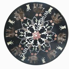 """24"""" Black Round Marble Coffee Round Table Inlay Bedroom Kitchen Home Decor H5675"""