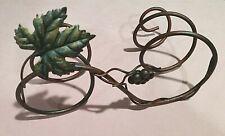 Metal Wine Bottle Stand Rack Holder Grape Vine Leaves Antiqued Bronze~Holds 2