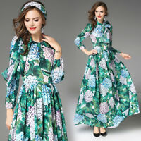 2018 spring women's fashion temperament high waist printing Maxi Swing Dress new