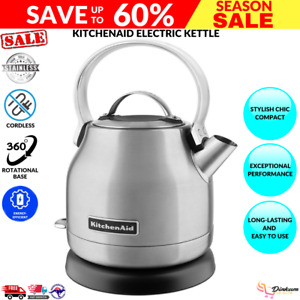 New KitchenAid Electric Kettle 1.25L Artisan Stainless Steel Removable Lid