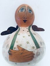 "15"" Angel Hand Painted Peace On Earth Karen Lee Spencer Folk Art Gourd Figurine"