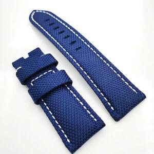 26mm Blue Canvas Genuine Leather White Stitch PAM Strap for RADIOMIR LUMINOR