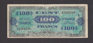 100 FRANCS FINE BANKNOTE FROM ALLIED MILITARY IN FRANCE 1944 PICK-123