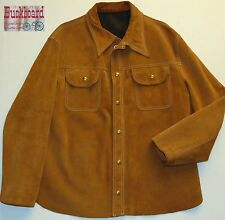 Vintage 60s 70s Buckboard Leather Suede Jacket Brown Size Men's Medium USA VGC
