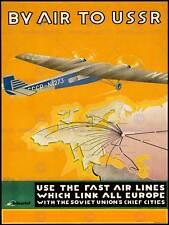 Travel USSR Soviet Russia Plane City Map Europe Poster Print Bb7669b