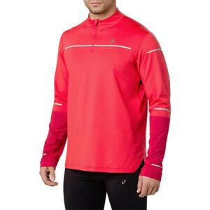 Asics Mens Lite-Show Winter Long Sleeve Half Zip Running Top Red Sports Warm