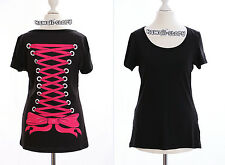TP-05 Gothic Punk schwarz black T-Shirt Corsage Schleife Rücken Harajuku Japan