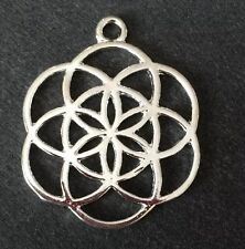 LIMITED OFFER GRAB A BAR Silver Tone   Seeds Of Life Flower Coldplay Pendant