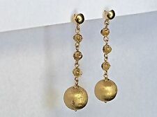 Made In Italy Satin Gold and Citrine Gems Dangle Ball Earrings, 14K Yellow Gold