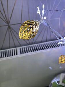 Home Reflections Gold Leaf Metal Light Strand Christmas Art Deco