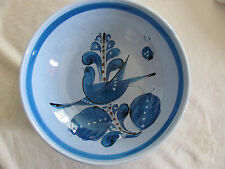 """Vintage Tonala Mexico Blue Bird Flowers Butterfly- 10"""" Round Serving Bowl"""