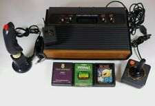 ATARI 2600 Console, Controllers & 3 Games Wood Grain w/ Cords
