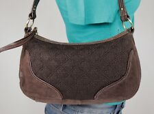 THE SAK Medium Brown Canvas Suede Shoulder Hobo Tote Satchel Purse Bag