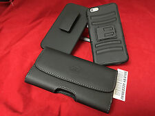 BLACK LEATHER BELT CLIP POUCH HYBRID RUGGED ARMOR HOLSTER CASE FOR IPHONE 6 PLUS