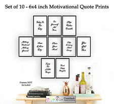 Set of 10 6x4 Motivational Quote Photo Picture Prints ONLY Wall Art gym business