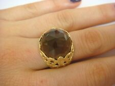 BEAUTIFUL 14K YELLOW GOLD FILIGREE DESIGN LADIES RING WITH FACETED SMOKY QUARTZ