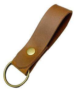 Leather Keyring / Key fob Tan  Leather Antique Brass fittings key strap/fob