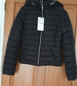ZARA  Black Lightweight Hooded Puffer Jacket /Coat BNWT  SIZE XS