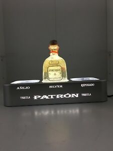 Patron Tequila Advertising 3-Bottle Pub Display Silver With Led Lights
