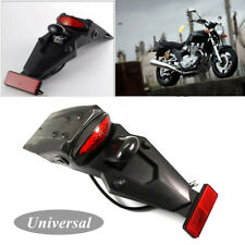 Universal Motorcycle Rear Fender Mud Guard Mount with LED Brake Stop Tail Light
