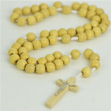White Rope Wooden Beads Religious Necklace Rosary With Wooden Cross