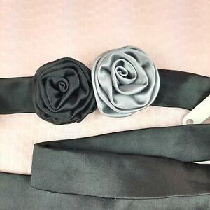 NEW J Crew 100% Silk Flowers Tie Belt Black One Size