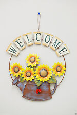 Metal Rustic Sunflower/Watering Can Wall Hanging Welcome Sign Home Garden Decor