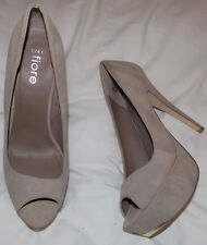 FIORE, Beige faux suede, peeptoe court shoes.1.5' plat. 5.5' heel. UK 7. H worn.