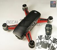 DJI Spark Black Carbon Fiber with Red Arms Full Body Graphic Wrap-  Skin Decal