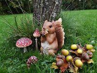Wetterfest Eichhörnchen Figur Nuss Braun Kunstharz 16cm Dekoration Squirrel
