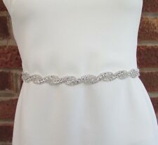 Silver Diamante Bridal Wedding Dress Belt Rhinestone Clear Crystal Chain 6045