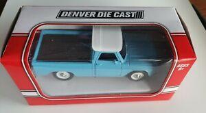 denver diecast 60-80's style ford/chev pickup 1/48th white/blue nib use w/lionel