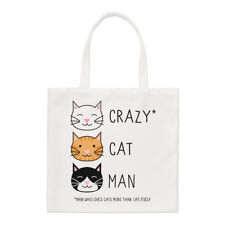 Crazy Gato Hombre Small Tote Bag-Gatito Gracioso Shopper Hombro