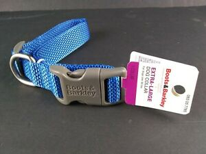 """Extra Large Dog Collar Boots & Barkley 1"""" x 20"""" to 30"""" L Blue Fits XL Dog Breeds"""