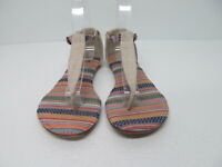 TOMS Playa Natural/Multicolor Cotton T- Strap Thong Sandals Size Women's 7
