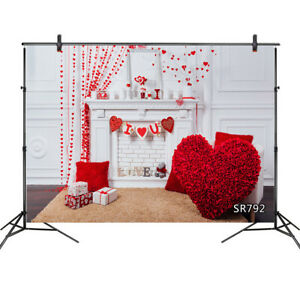 10x8FT Valentines Red Heart Fireplace Brick Wall Vinyl Backdrop Photo Background