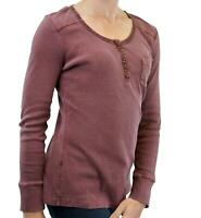 NEW Fat Face Long Sleeve Micro Rib Henley Jersey Tee 2 Cols Navy/Grape RRP £35