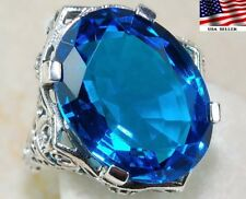 9CT Blue Topaz 925 Sterling Silver Victorian Style Ring Jewelry Sz 8, F3-10