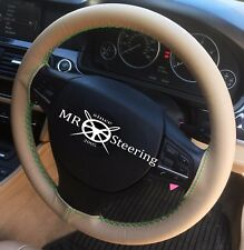 FOR VAUXHALL SIGNUM 2003+ BEIGE LEATHER STEERING WHEEL COVER GREEN DOUBLE STITCH