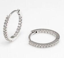 Womens Diamond Micro Pave Huggies Hoop Earrings 18k White Gold