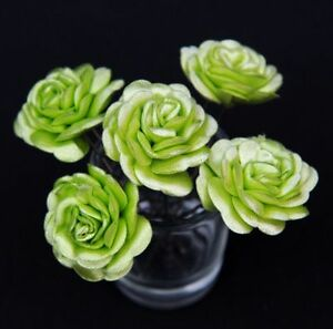 6 Bridal Wedding Lime Green Rose Flower Hair Pins Clips Grips handmade