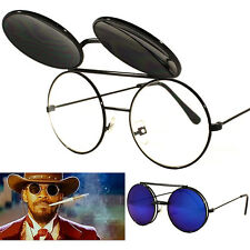 Movie Celebrity Flip Up Black Sunglasses Round Retro Blue Mirror New Mens UV400