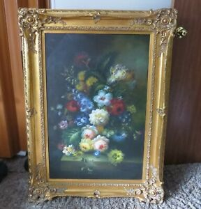"""""""Amazing Flowers"""" Still life Oil Painting on Canvas Signed M. Anton"""