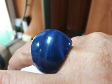 Caribean sea's & Aqua Marble Solid Set, Giant In 1 Lucite ring, Dolman Size Q