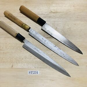 Damaged Lot of three Japanese Chef's Kitchen Knives Vintage From Japan ST231